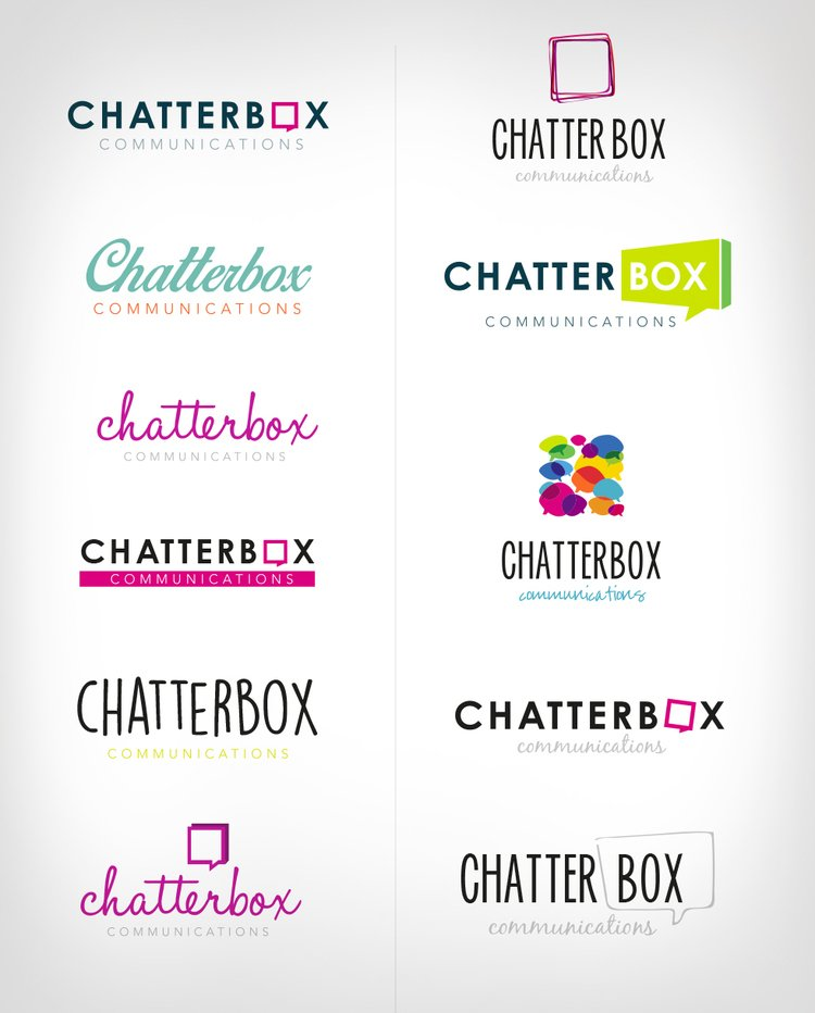 Chatterbox communications logo development - range of logo designs presented to the client