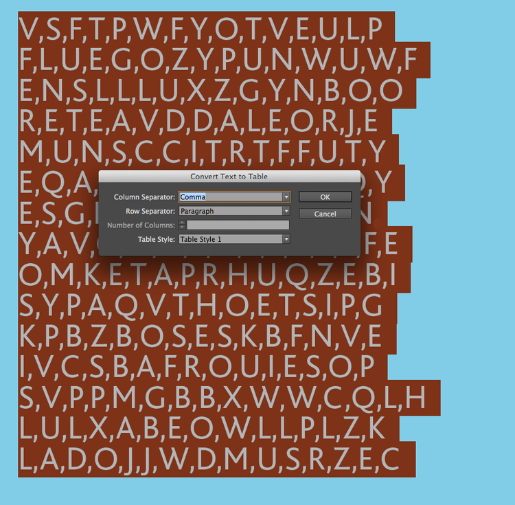 View of wordsearch artwork in progress in Adobe InDesign