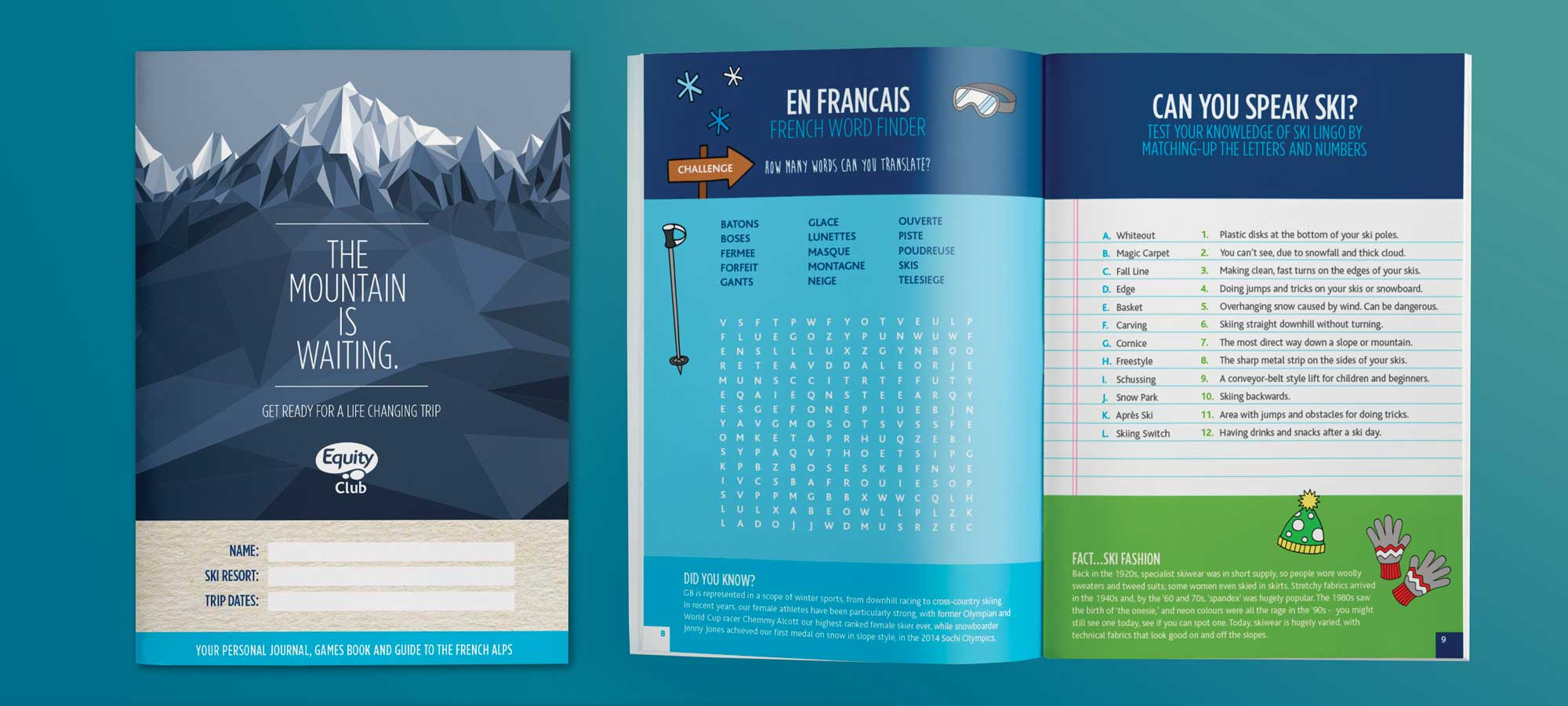 Front cover and double page spread of the Equity Club workbooks