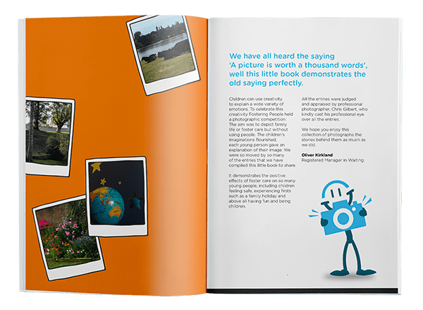 Fostering People Photography competition - double page spread of brochure