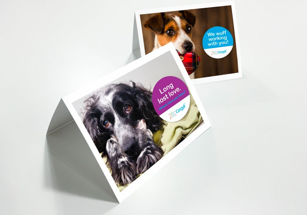 Cargyll consultants greetings cards - featuring cute dog images to reconnect with customers