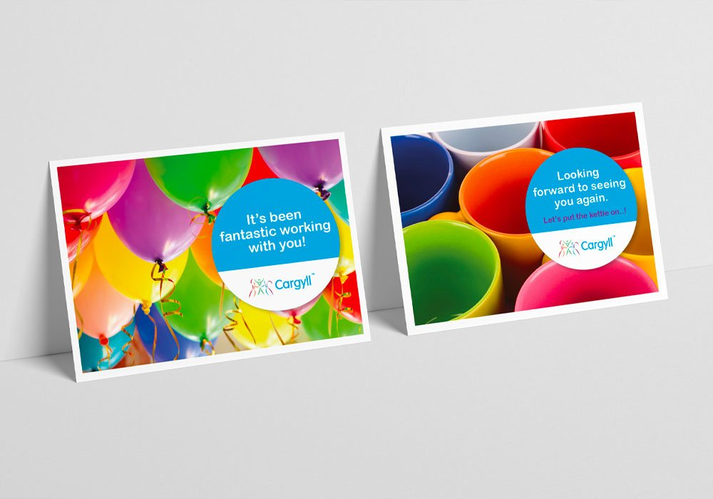 2 bright and bold postcards created for Cargyll Consultants