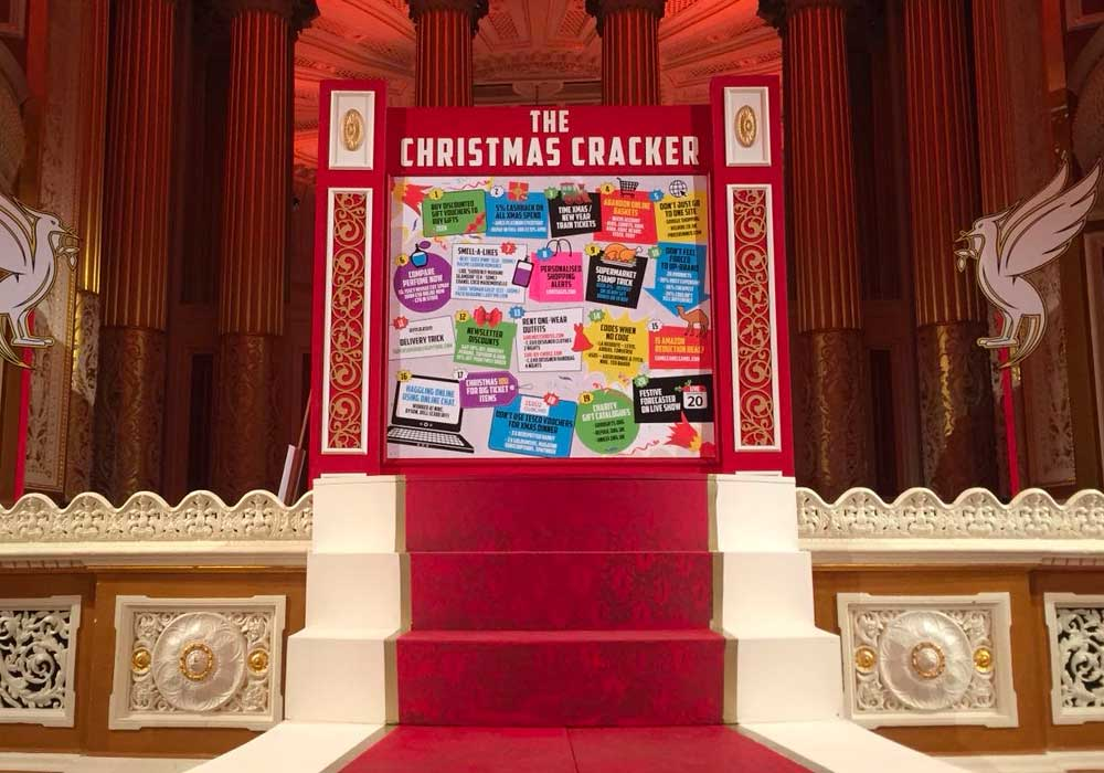 MLMS Live Show Liverpool - Photograph of the Christmas Cracker board on stage