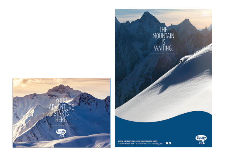 Presntation folder mockup for Equity Club - Features stunning photography of mountains, text reads: The mountain is waiting