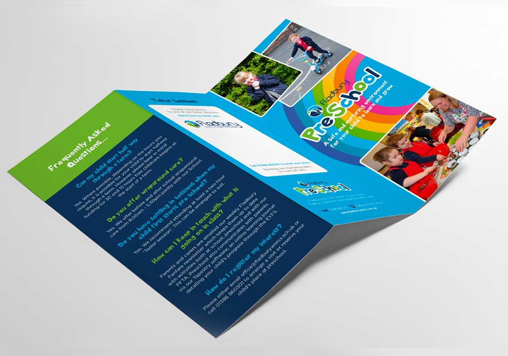 Fladbury PreSchool leaflet shown open