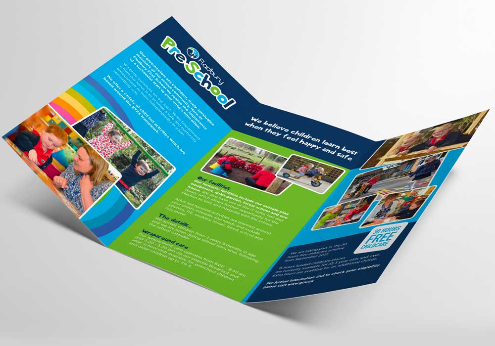 Inside spread of Fladbury PreSchool leaflet