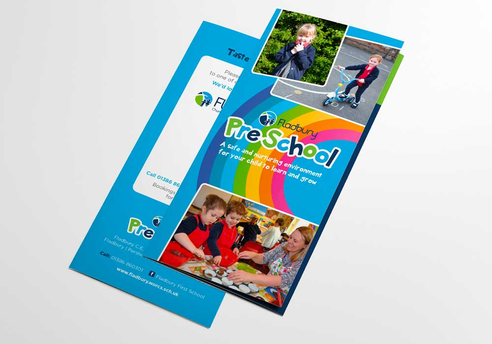 Visual of folded Fladbury PreSchool Flyers