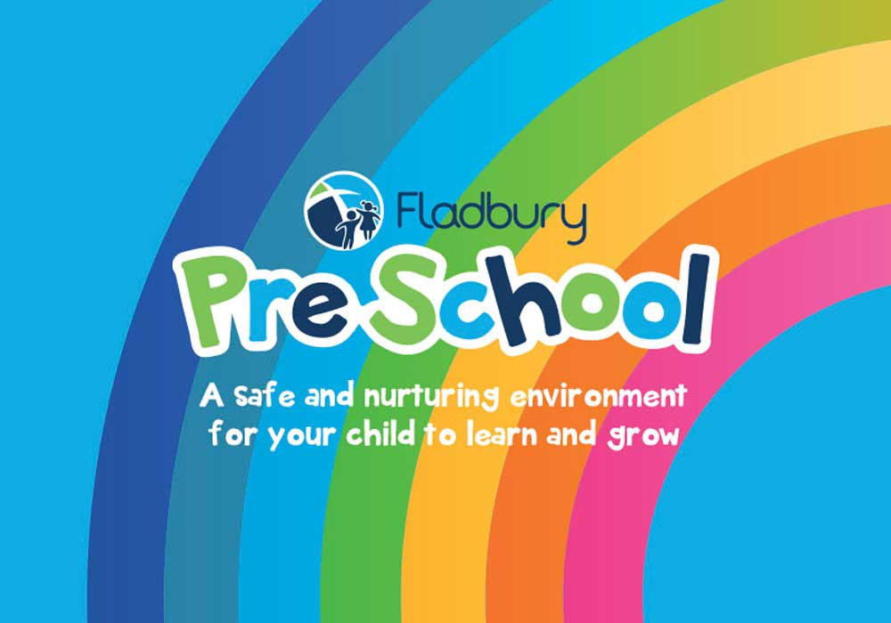 Fladbury Preschool logo redesign featuring bold rainbow background and friendly child like font