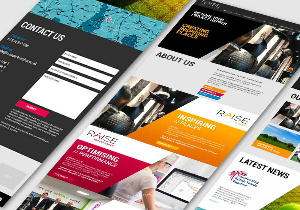 Raise Partnership Web Design layouts